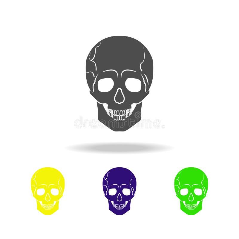 ícones coloridos do órgão humano do crânio Elemento de ícones coloridos das partes do corpo Sinais e ícone da coleção dos símbolo ilustração do vetor