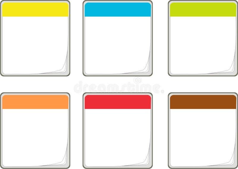Ícones coloridos do calendário ilustração stock