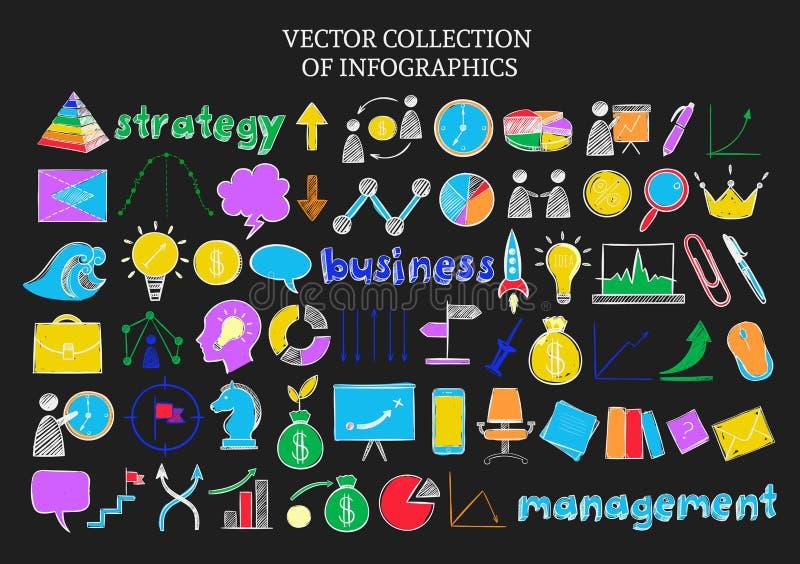 Ícones coloridos do esboço de Infographic ajustados ilustração royalty free