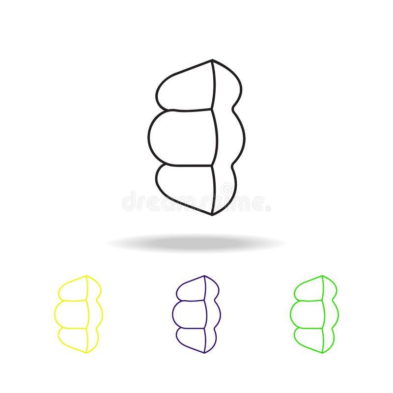 ícones coloridos do esboço do dissipador da massa Ícones coloridos do esboço do elemento dos espaguetes Sinal da culinária, ícone ilustração do vetor