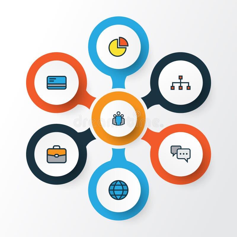 Ícones coloridos do esboço do negócio ajustados Coleção da equipe, do Stats do círculo, da conversação e dos outros elementos Igu ilustração stock