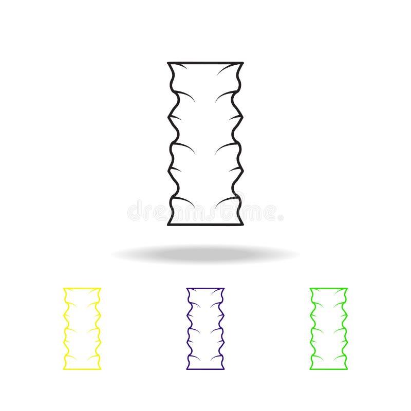 ícones coloridos do esboço dos macarronetes Ícones coloridos do esboço do elemento dos espaguetes Sinal da culinária, ícone FO da ilustração stock