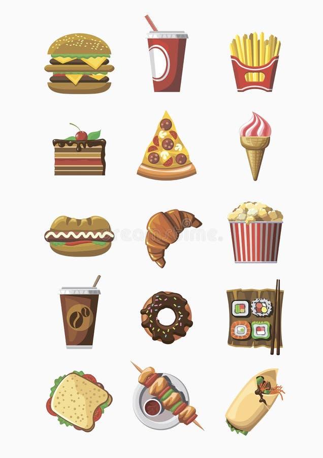 Ícones coloridos do fast food ajustados Projeto liso ilustração do vetor