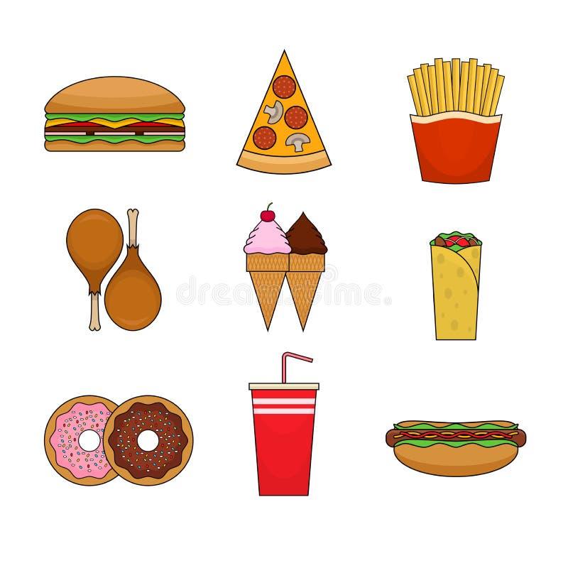 Ícones coloridos do fast food no projeto liso moderno ilustração stock