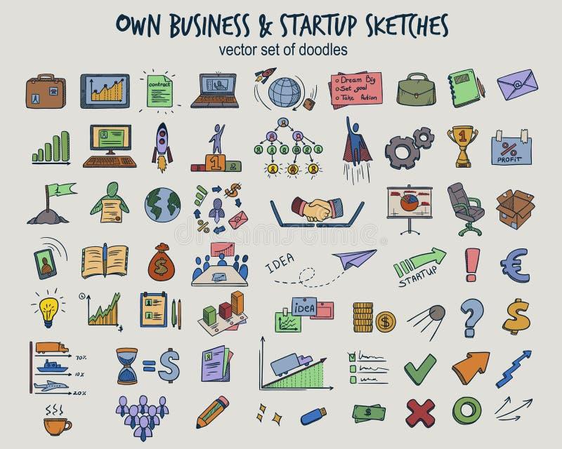 Ícones coloridos do negócio de Infographic da garatuja ajustados ilustração stock