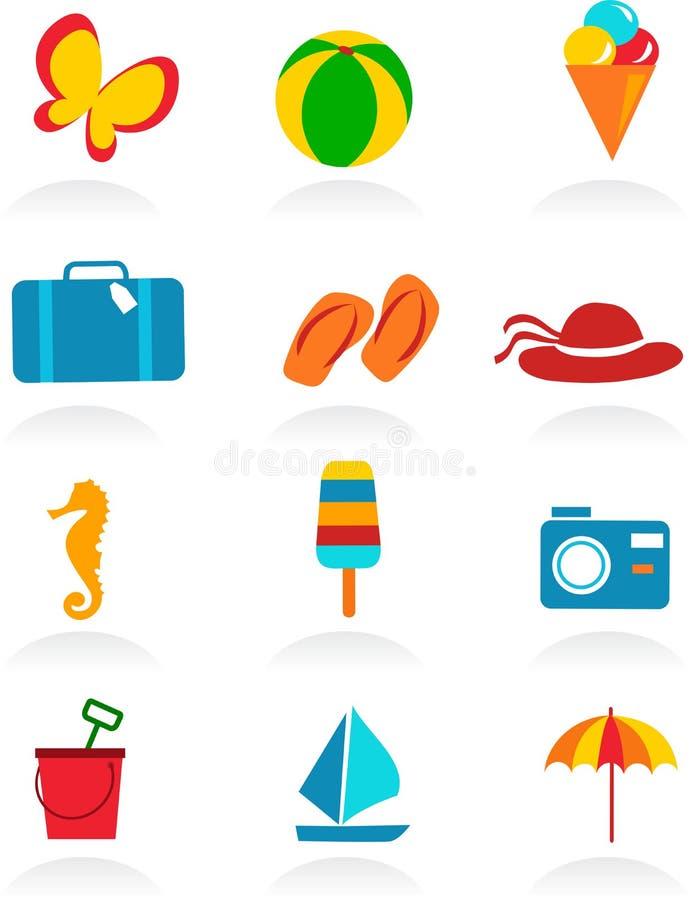 Ícones coloridos do verão ilustração royalty free