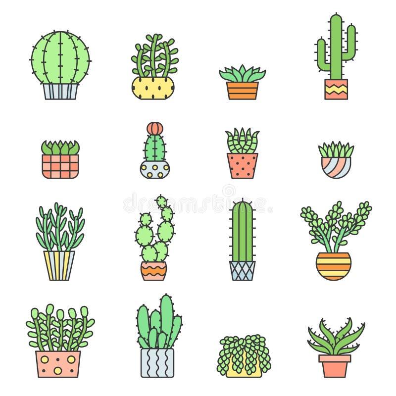 Ícones coloridos do vetor do esboço das plantas carnudas e dos cactos ajustados Projeto de Minimalistic ilustração do vetor