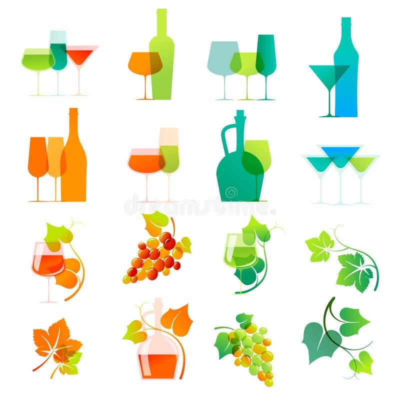 Ícones coloridos do vinho ilustração do vetor