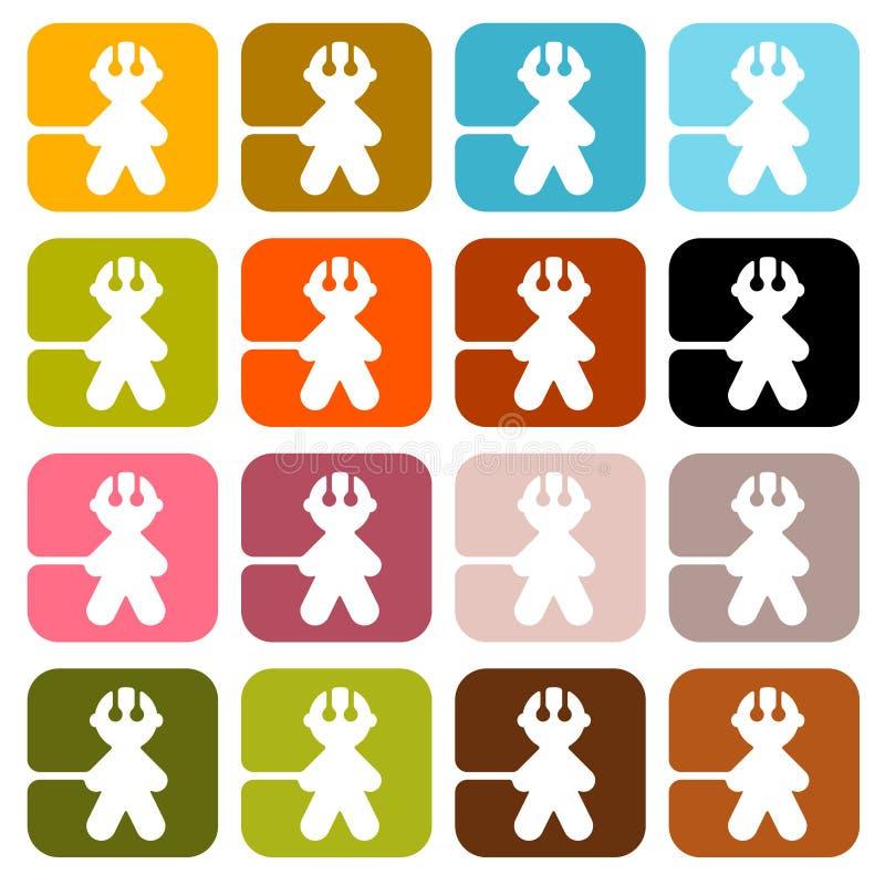 Ícones coloridos dos homens do vetor ilustração royalty free