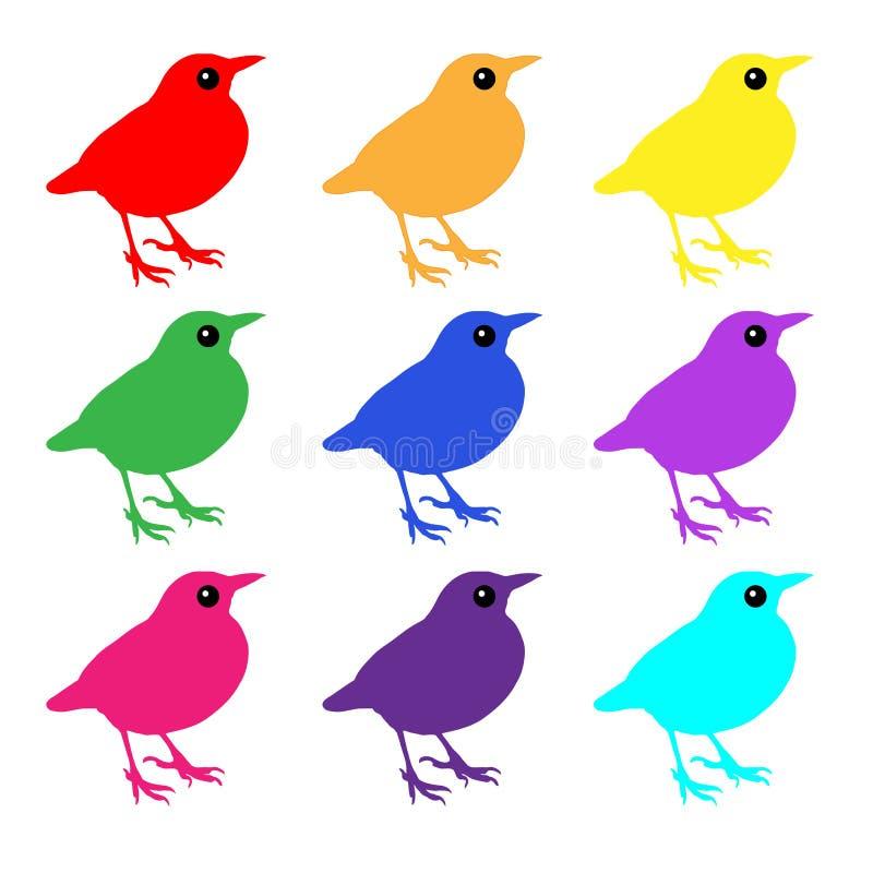 Ícones coloridos dos pássaros ilustração royalty free