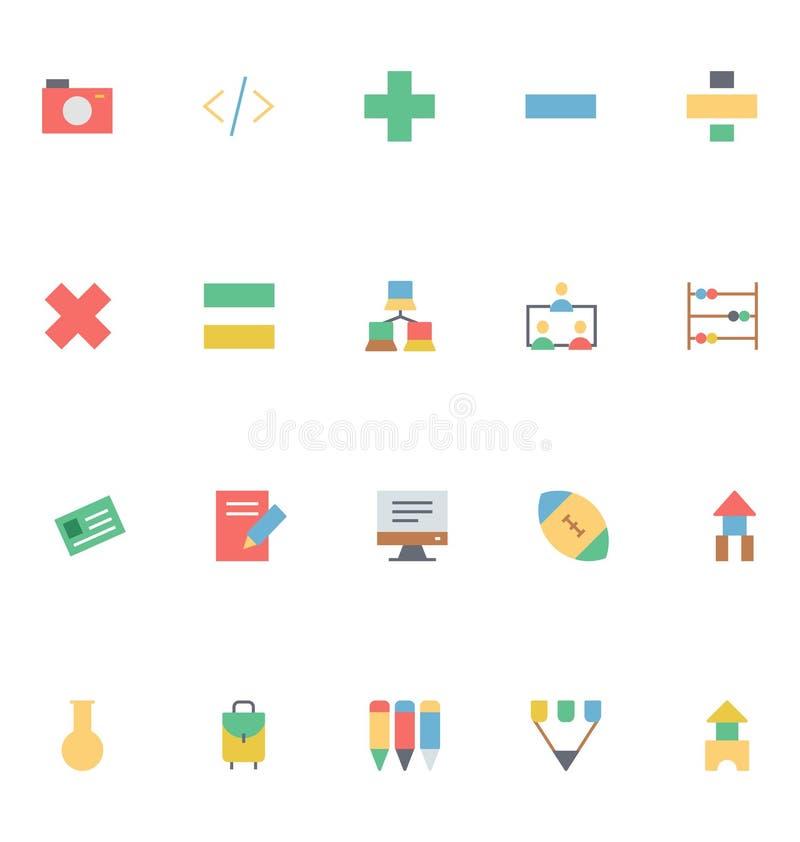 Ícones coloridos educação 8 do vetor ilustração stock