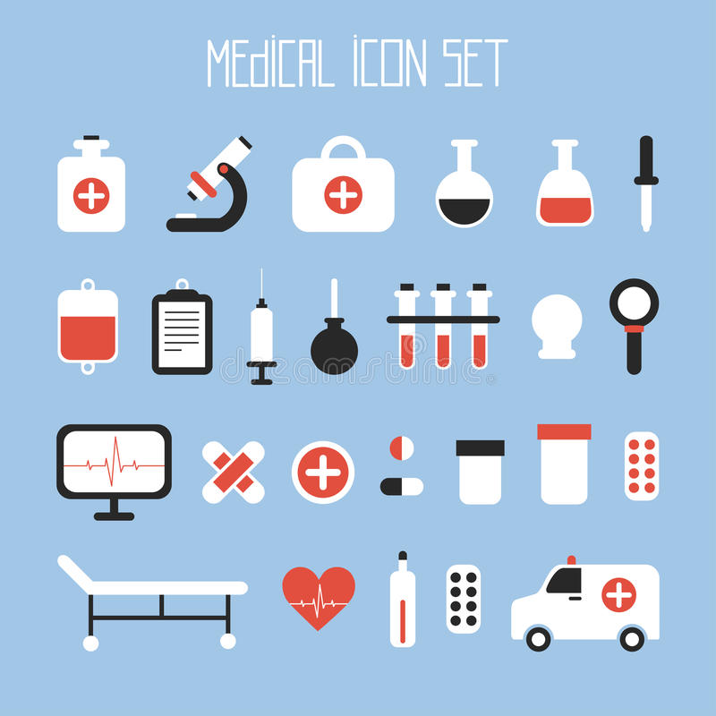 Ícones coloridos médicos e da saúde do vetor ajustados ilustração stock