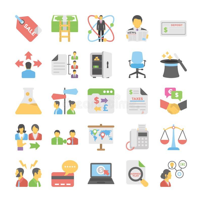 Ícones coloridos plano 7 do negócio ilustração do vetor
