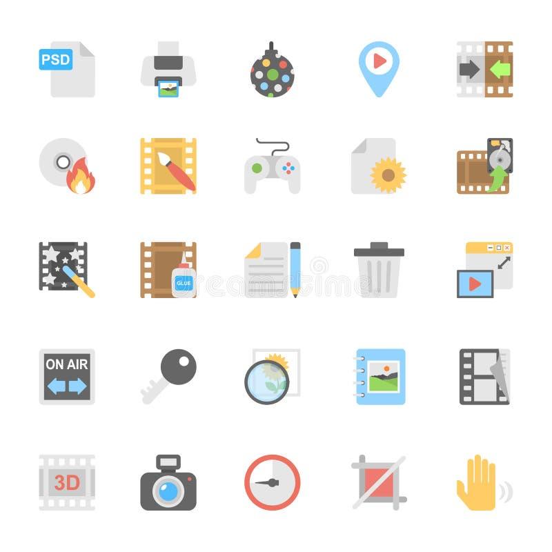 Ícones coloridos plano 9 dos multimédios ilustração stock