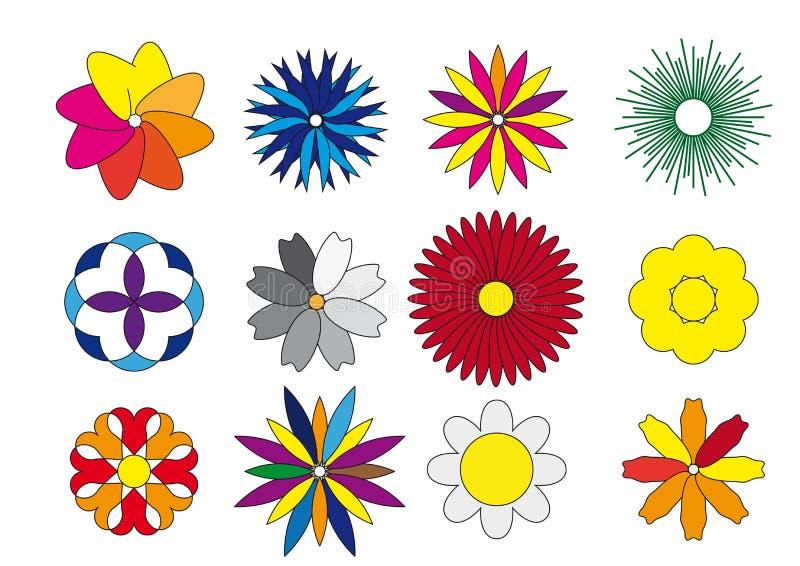 Ícones coloridos simples das flores ajustados ilustração royalty free