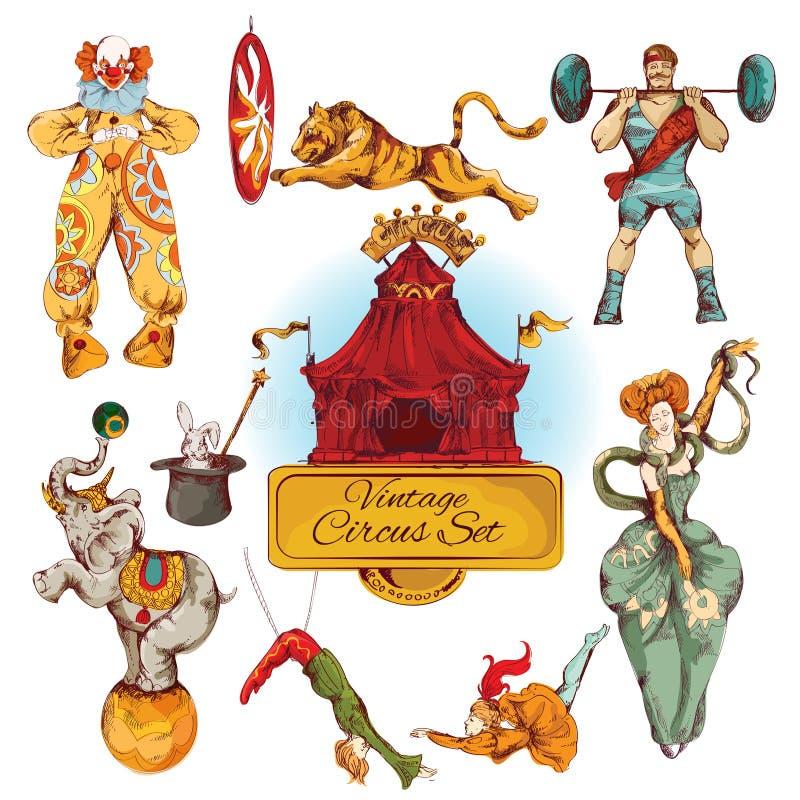 Ícones coloridos vintage do circo ajustados ilustração royalty free