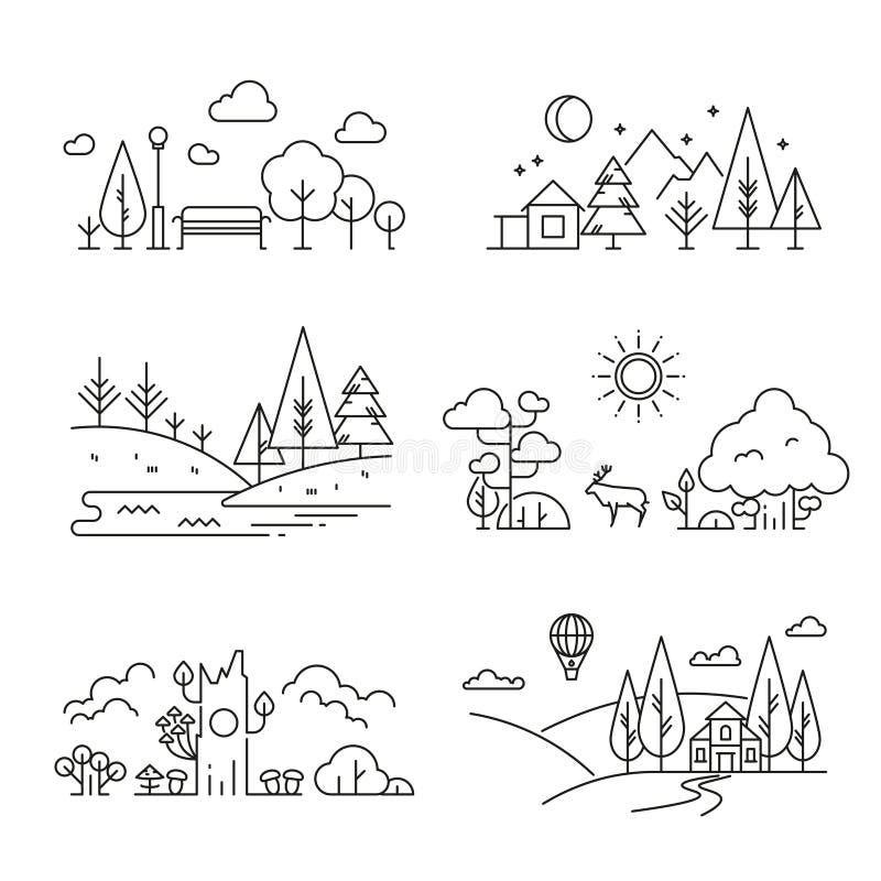 Ícones com árvore, plantas do esboço da paisagem da natureza, montanhas, rio ilustração do vetor