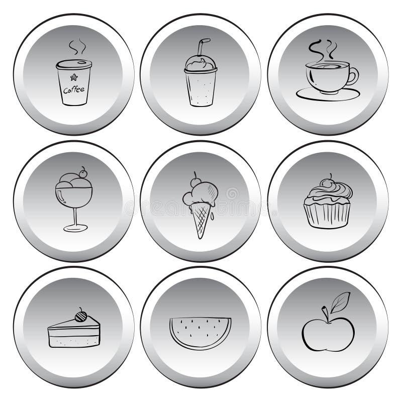 Ícones com alimentos e bebidas ilustração do vetor