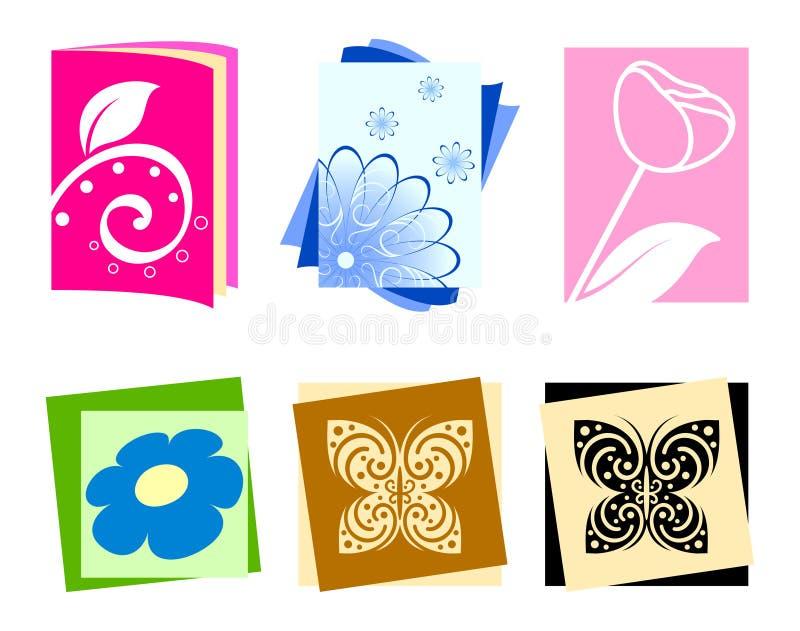 Ícones com flores e borboletas ilustração do vetor