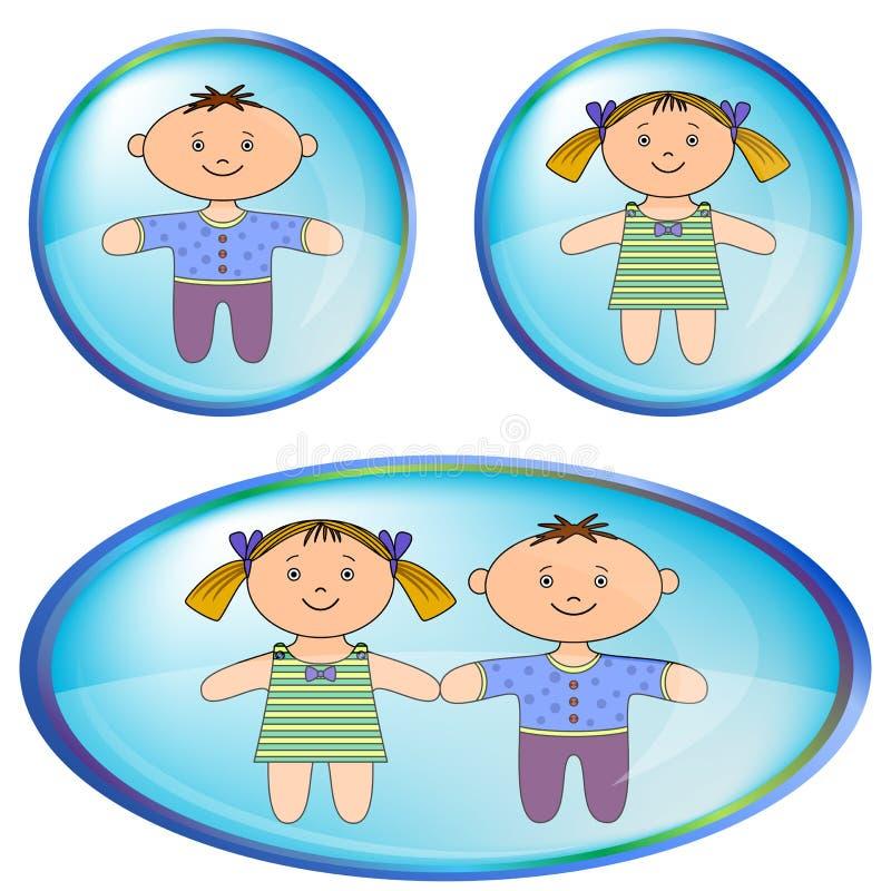 Ícones com menino e menina ilustração do vetor