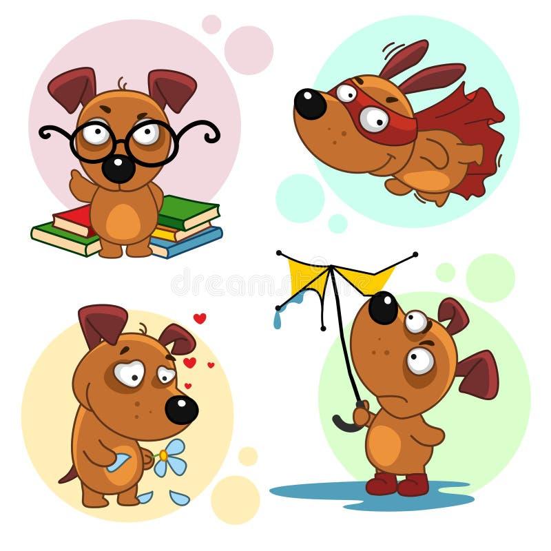 Ícones com parte 1 dos cães ilustração royalty free
