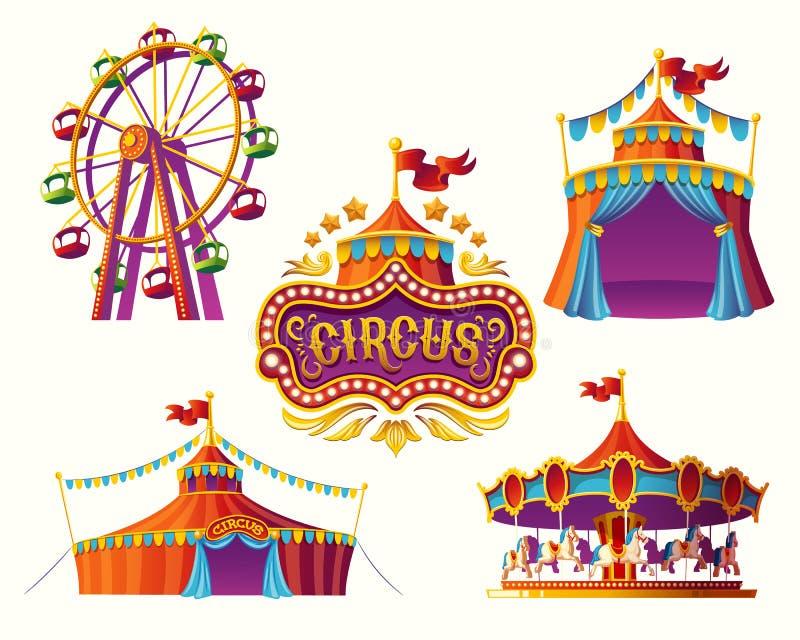 Ícones com uma barraca, carrosséis do circo do carnaval, bandeiras ilustração do vetor