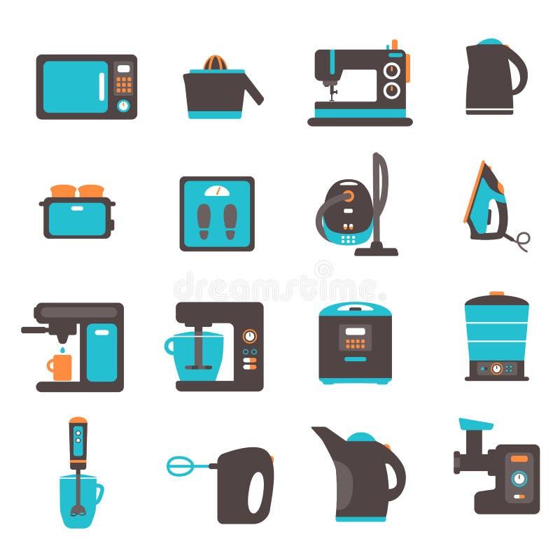 Ícones com utensílios da cozinha ilustração do vetor