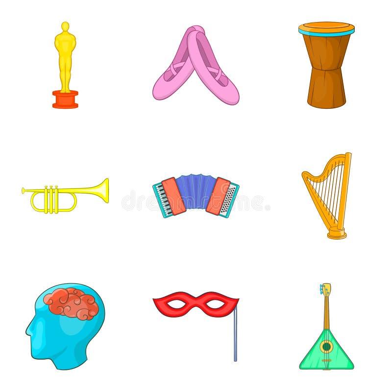 Ícones compreensivos ajustados, estilo da música dos desenhos animados ilustração royalty free