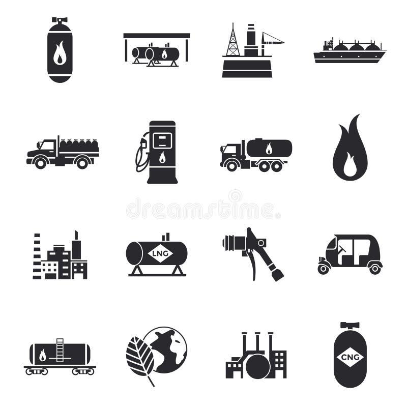 Ícones comprimidos e líquidos do gás natural ilustração do vetor
