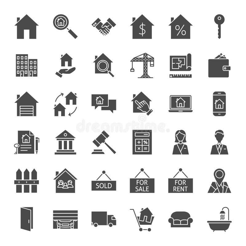 Ícones contínuos da Web de Real Estate ilustração do vetor