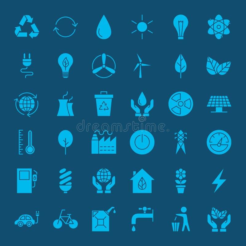 Ícones contínuos da Web do ambiente da ecologia ilustração royalty free