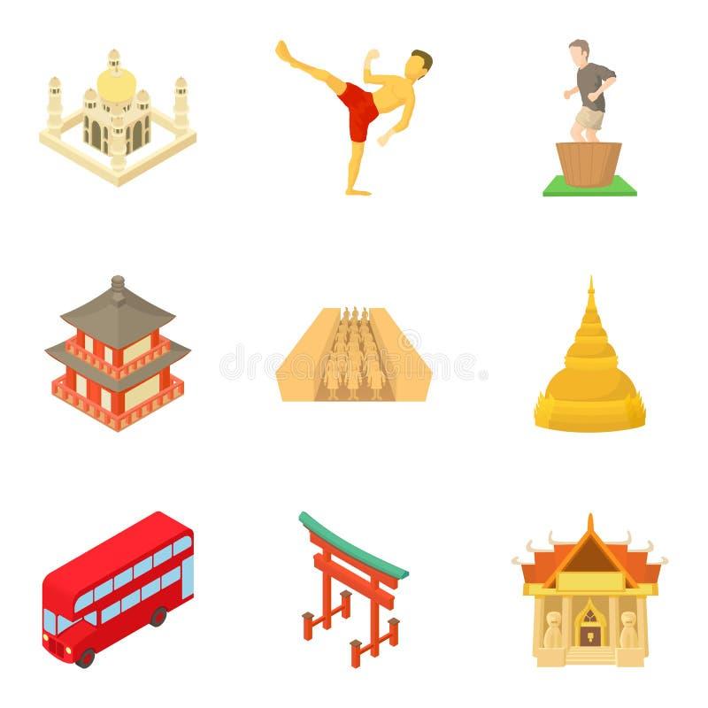 Ícones continentais ajustados, estilo da parte dos desenhos animados ilustração royalty free