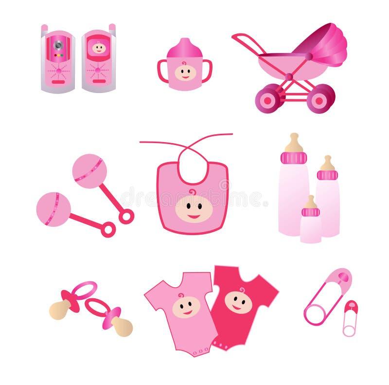 Ícones cor-de-rosa do bebê ilustração do vetor