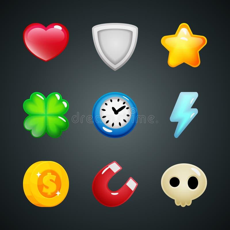 Ícones coração dos elementos do jogo, protetor, estrela, trevo, pulso de disparo, relâmpago, moeda, ímã, crânio ilustração do vetor