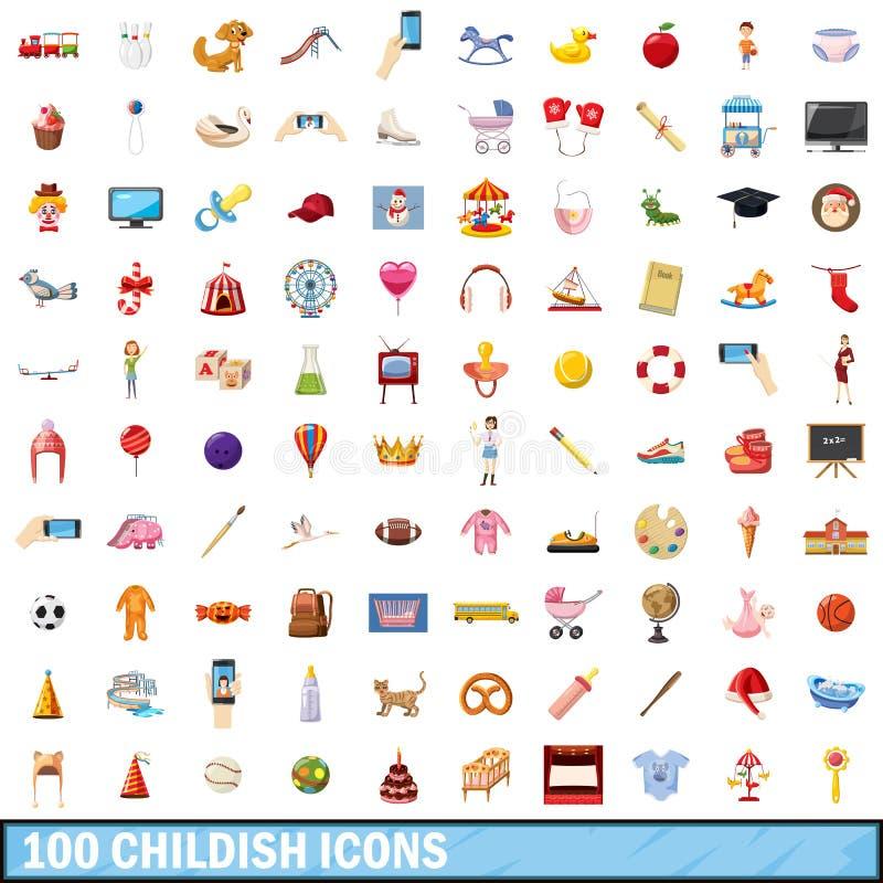 100 ícones criançolas ajustados, estilo dos desenhos animados ilustração do vetor