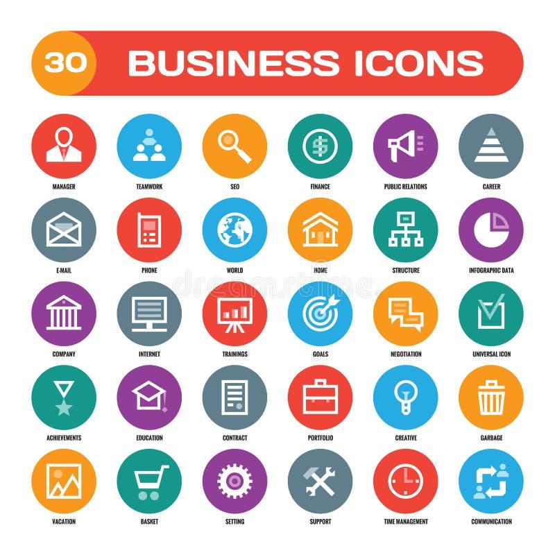 30 ícones criativos do vetor do negócio no estilo liso para projetos de design materiais Ícones do vetor do negócio ajustados Col ilustração royalty free