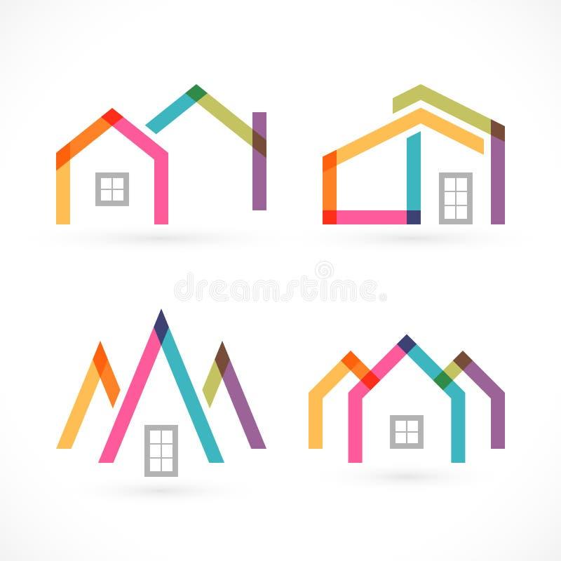Ícones criativos dos bens imobiliários do sumário da casa ajustados ilustração royalty free