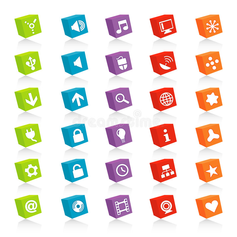 Ícones cubados do Web (vetor)