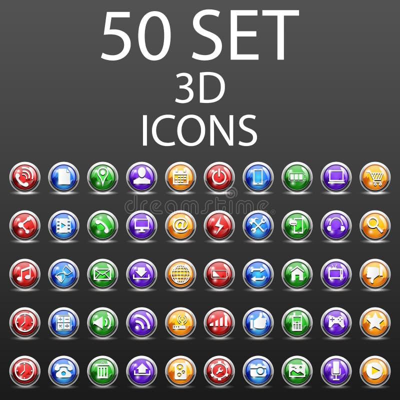 50 ícones 3D ajustados ilustração stock