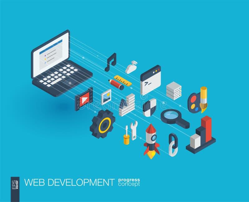 Ícones 3d integrados desenvolvimento da Web Conceito do crescimento e do progresso ilustração royalty free