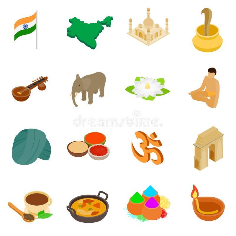 Ícones 3d isométricos da Índia ajustados ilustração royalty free