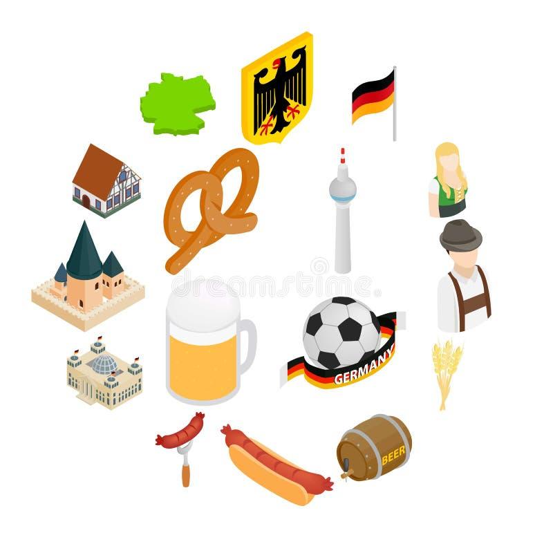 Ícones 3d isométricos de Alemanha ilustração stock