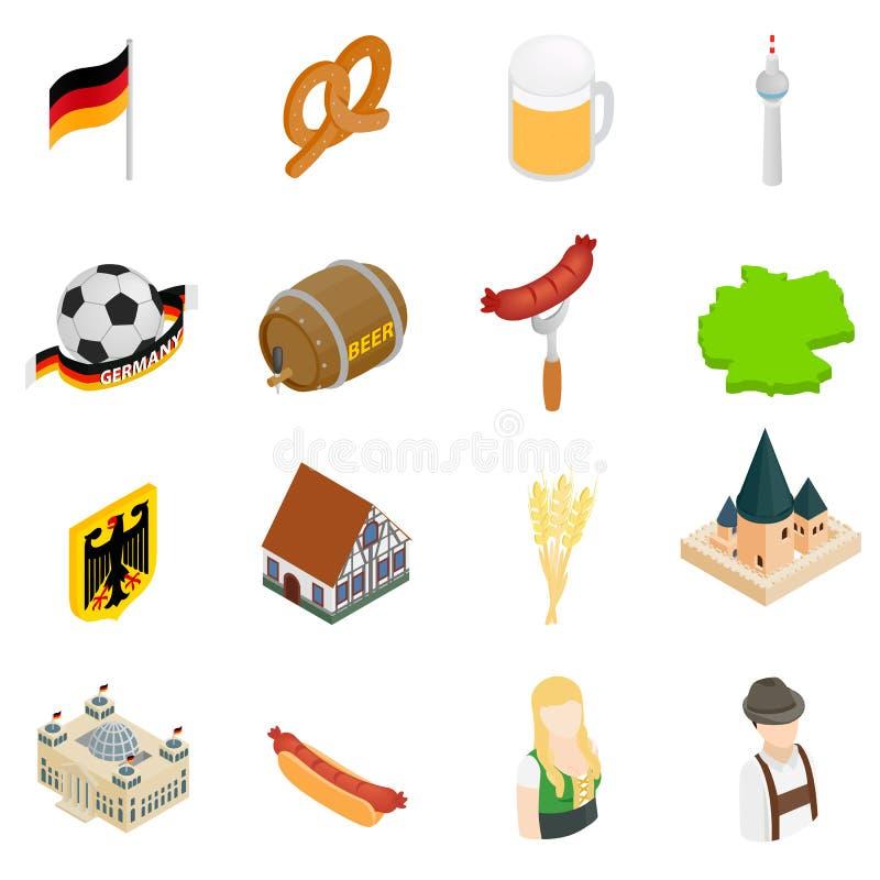 Ícones 3d isométricos de Alemanha ilustração do vetor