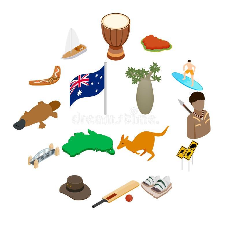 Ícones 3d isométricos de Austrália ilustração stock