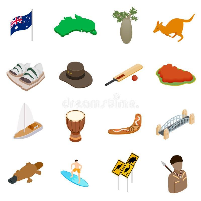 Ícones 3d isométricos de Austrália ilustração royalty free