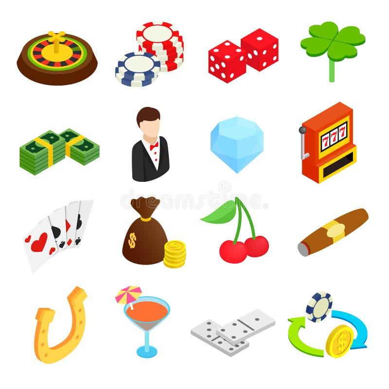 Ícones 3d isométricos do casino ilustração royalty free
