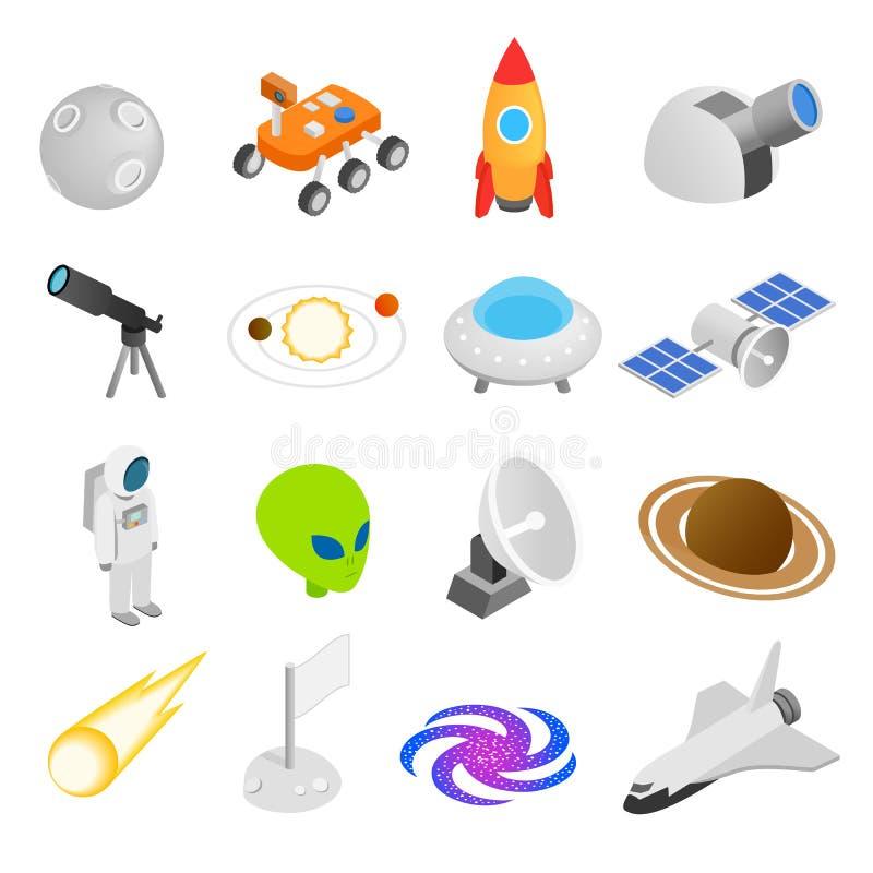 Ícones 3d isométricos do espaço ilustração stock