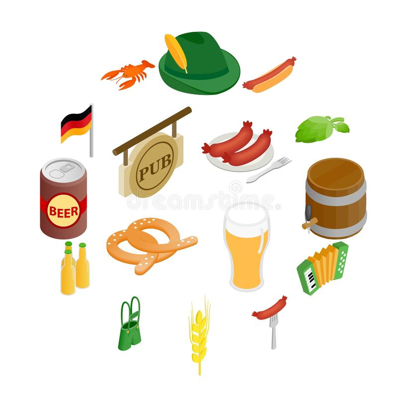 Ícones 3d isométricos do partido de Oktoberfest ilustração royalty free