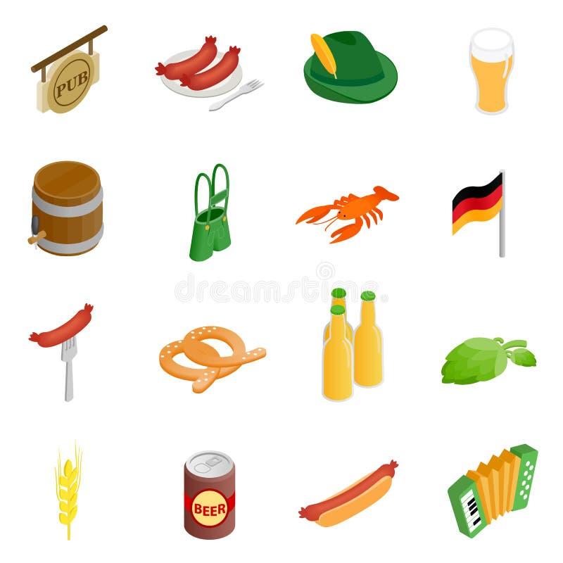 Ícones 3d isométricos do partido de Oktoberfest ilustração do vetor