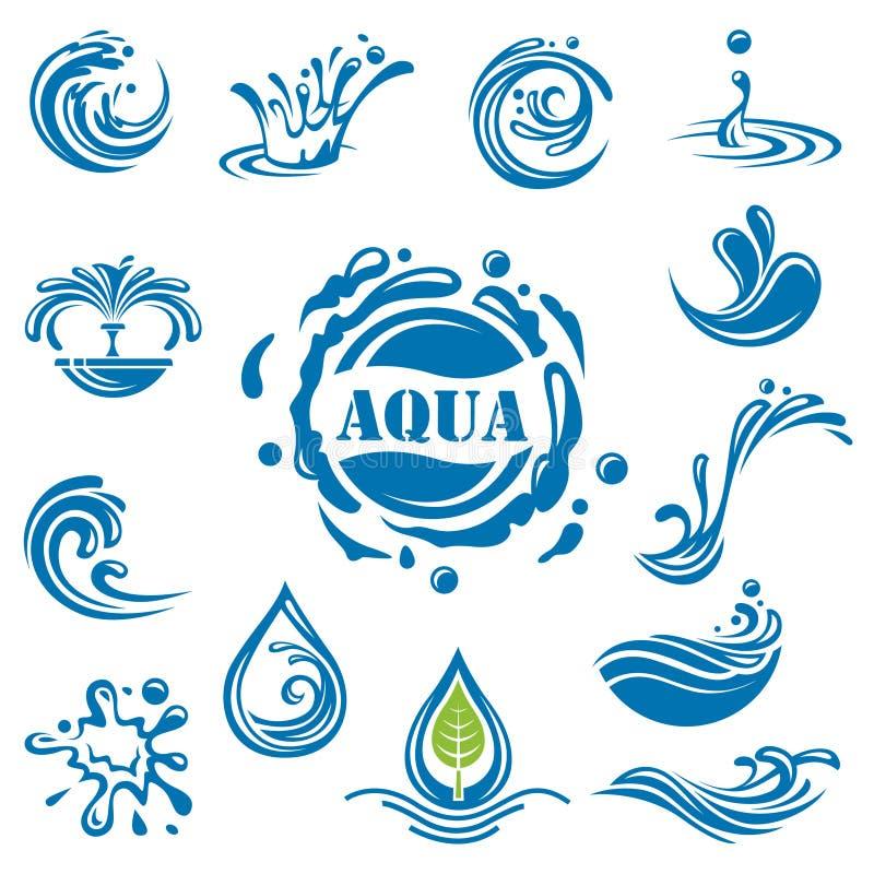 Ícones da água ilustração stock